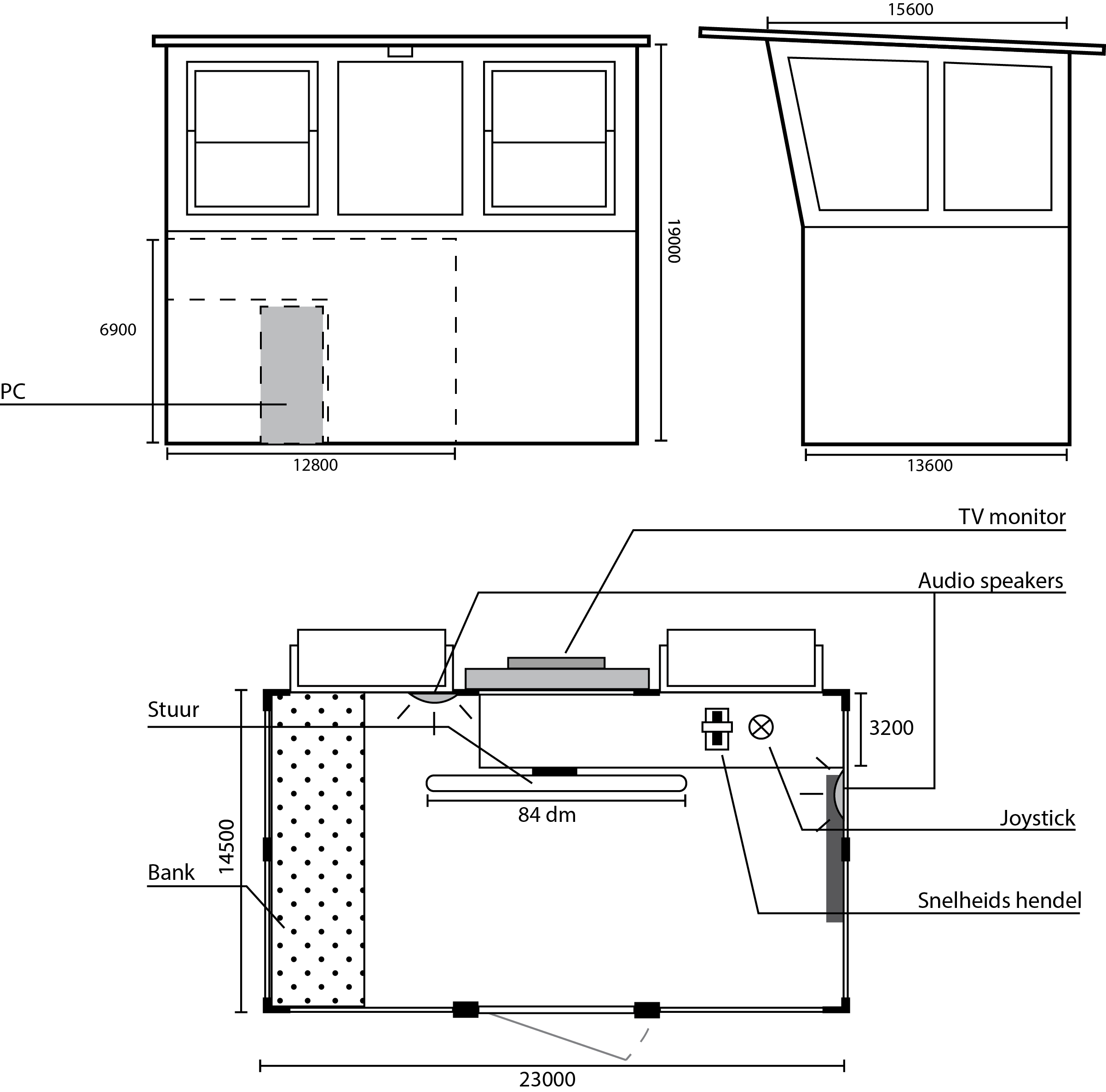 A blueprint of the steering cabin